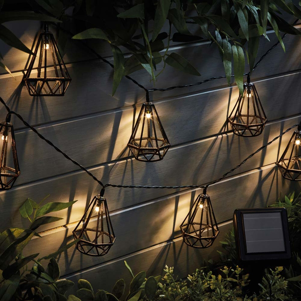 Garden Gear Solar Style Caged Solar Lights - Diamond No Colour