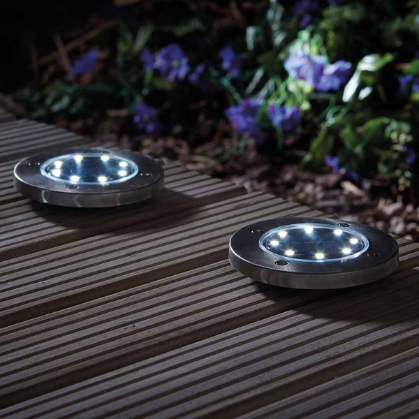 Zennox 8 LED Solar Deck Lights - Twin Pack No Colour