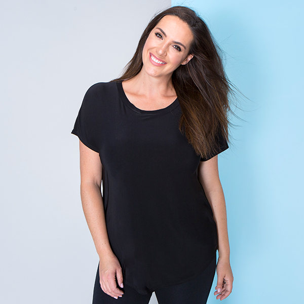 Nicole Short Sleeve Soft Touch Top Black
