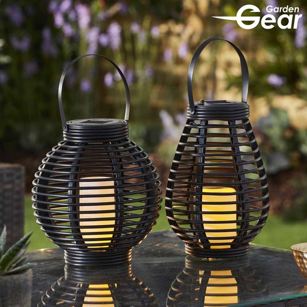 Garden Gear Flickering Candle Rattan Solar Lantern - Tall No Colour