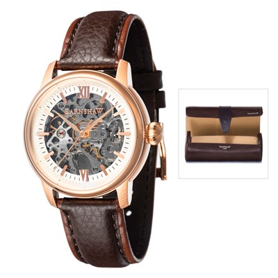 Thomas Earnshaw Gent's Cornwall Skeleton Automatic Watch with Genuine Leather Strap and Watch Roll