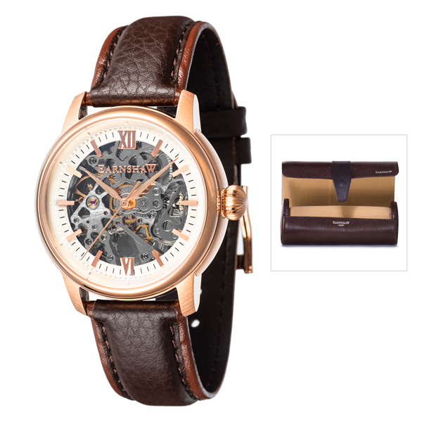 Thomas Earnshaw Gent's Cornwall Skeleton Automatic Watch with Genuine Leather Strap and Watch Roll Rose Gold