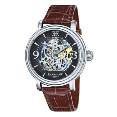 Thomas Earnshaw Gent's Longcase Automatic Skeleton Watch with Genuine Leather Strap and Pen
