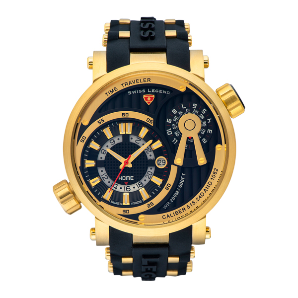Swiss Legend Gent's Time Traveller Watch with Silicone Strap Gold