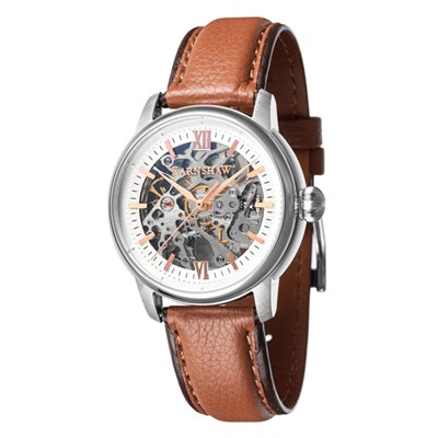 Thomas Earnshaw Gent's Cornwall Skeleton Automatic Watch with Genuine Leather Strap