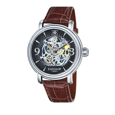 Thomas Earnshaw Gent�s Longcase Automatic Skeleton Watch with Genuine Leather Strap