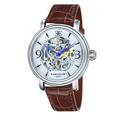 Thomas Earnshaw Gent's Longcase Automatic Skeleton Watch with Genuine Leather Strap
