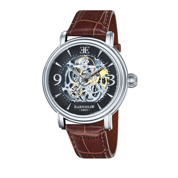 Thomas Earnshaw Gent's Longcase Automatic Skeleton Watch with Genuine Leather Strap Brown