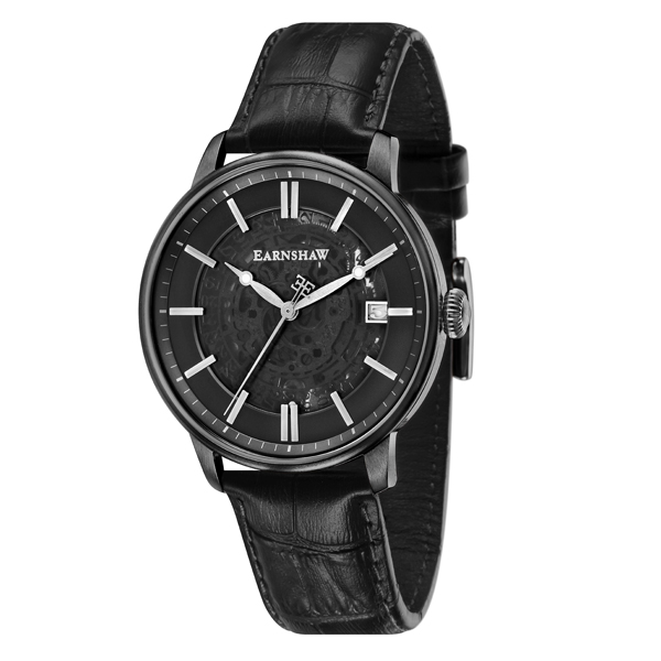 Thomas Earnshaw Gent's Vancouver Automatic Skeleton Watch with Genuine Leather Strap Black