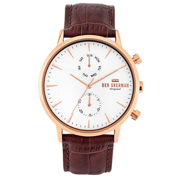 Ben Sherman Gent's Portobello Professional Sport Watch with Genuine Leather Strap White