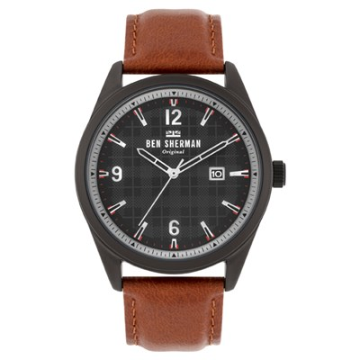Ben Sherman Gent's IP Carnaby Check Watch with Genuine Leather Strap