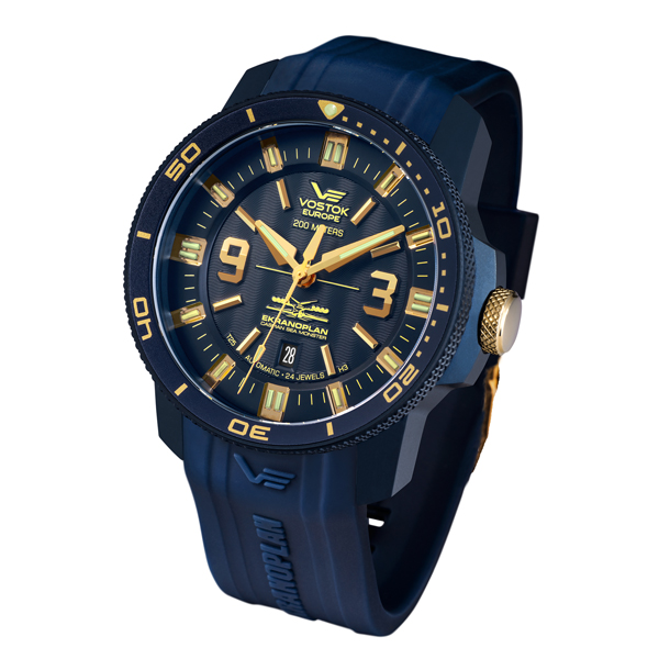 Vostok Europe Gent's PVD Ekranoplan Watch with Silicone Strap Blue