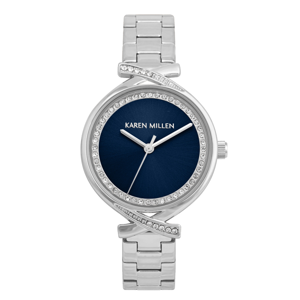 Karen Millen Ladies' Diamante Watch with Stainless Steel Bracelet Blue