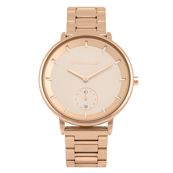 Karen Millen Ladies Sub-Dial Watch with Rose Gold