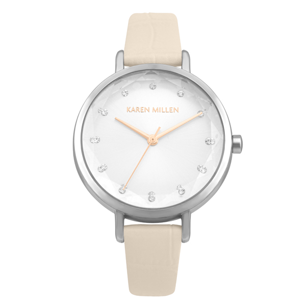 Karen Millen Ladies' Sunray Dial Watch with Croc Leather Strap Silver