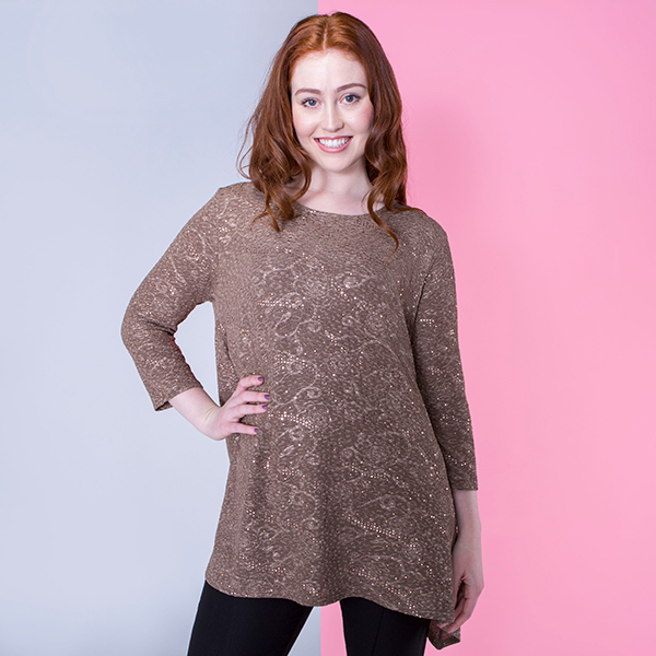 Nicole Textured Dip Hem Top Mocha
