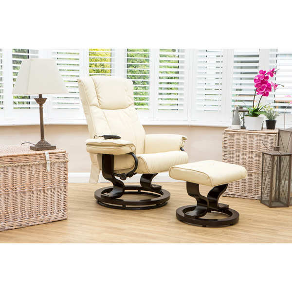 The Furniture Collection Santiago Swivel Heat and Massage Bonded Leather Recliner Chair and Stool Cream