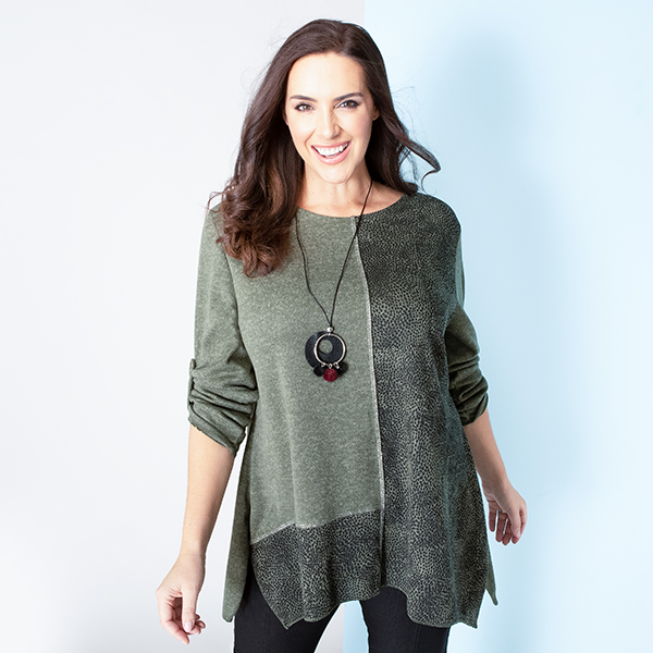 Sugar Crisp Patch Tunic with Necklace Khaki