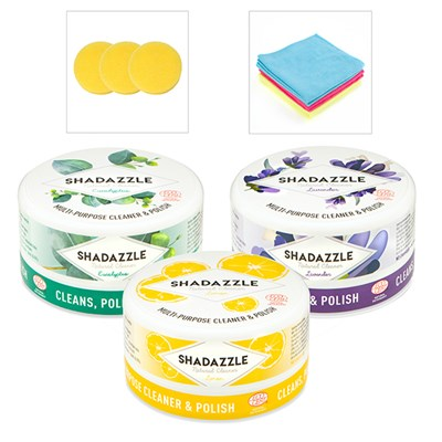 3 Tubs of Shadazzle with 3 Applicators and 6 Microfibre Cloths