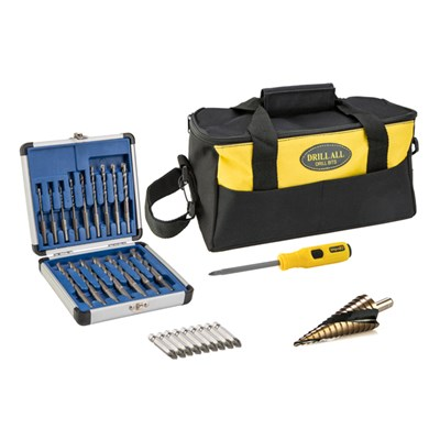Drill All Drill Bits incl. 16pc Drill Bit Set, PZ2 Impakt Driver, 9 PZ Bits, Spiral Cone Cutter & Tool Bag