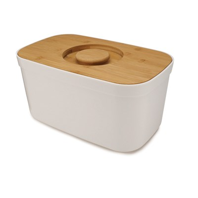 Joseph Joseph Steel White Bread Bin with Reversible Bamboo Chopping Board Lid