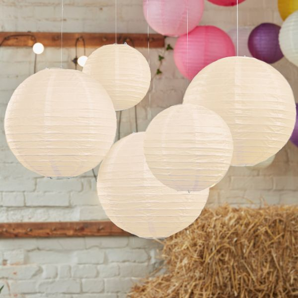 Ginger Ray Ivory Paper Lantern Decorations - Boho No Colour