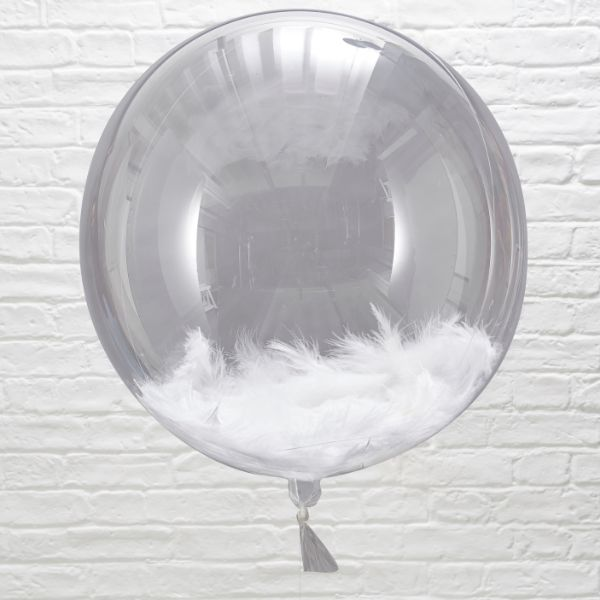 "Ginger Ray Orb Balloons - 18"" - White Feather No Colour"