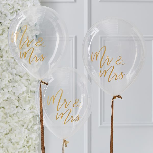 Ginger Ray Mr & Mrs Balloons No Colour