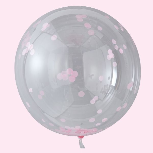 Ginger Ray Orb Balloons - Large Pink Confetti No Colour