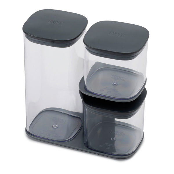 Joseph Joseph Grey Podium 3 Piece Storage Jar Set with Stand No Colour