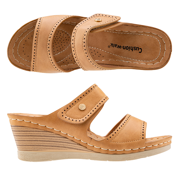 Cushion Walk Touch Close Wedge Mule Sandals Tan