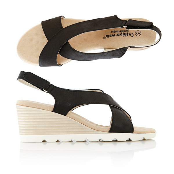 Cushion Walk Crossover Wedge Sandal Black