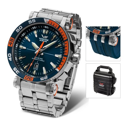 Vostok Europe Gent�s Energia Rocket with Divers Bracelet, Interchangeable Strap and Dry Box