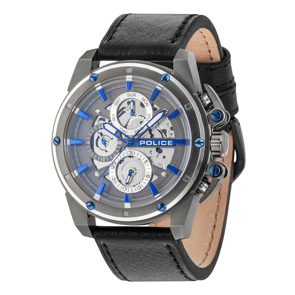 Police Gents Metro Watch with Genuine Le Black