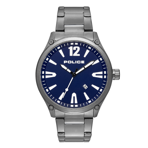 Police Gent's Denton Watch with Stainless Steel Bracelet Blue