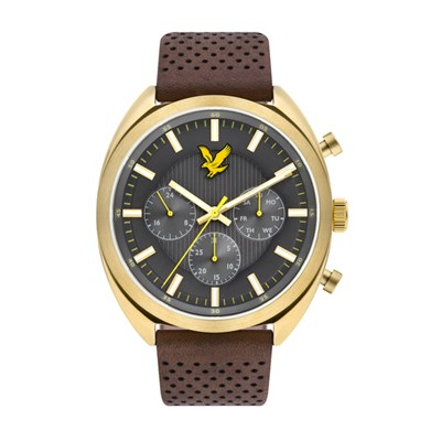 Lyle & Scott Gent's Tevio XE IP Watch with Genuine Leather Strap