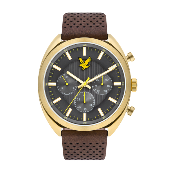 Lyle & Scott Gent's Tevio XE IP Watch with Genuine Leather Strap Grey