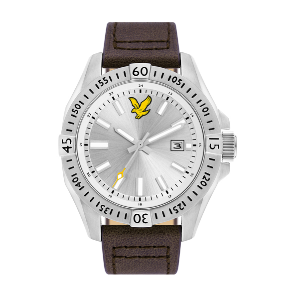 Lyle & Scott Gent's Tactical Watch with Genuine Leather Strap Silver/White