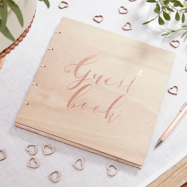 Ginger Ray Rose Gold Wooden Guest Book - Beautiful Botanics No Colour