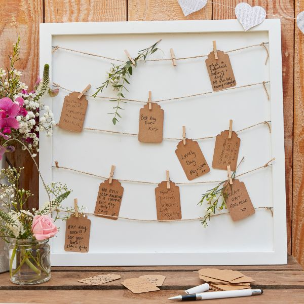 Ginger Ray Guest Book - Pegs And String Frame No Colour