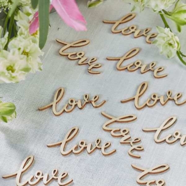 Ginger Ray Love Words Wooden Confetti - Boho No Colour