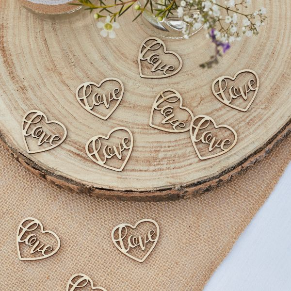 Ginger Ray Confetti - Wooden - Hearts No Colour
