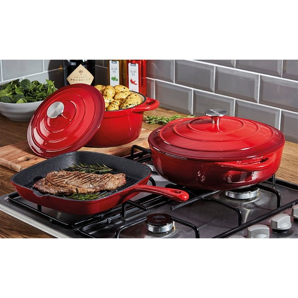 Cooks Professional G2678 3pc Red Cast Iron Cookware Set No Colour