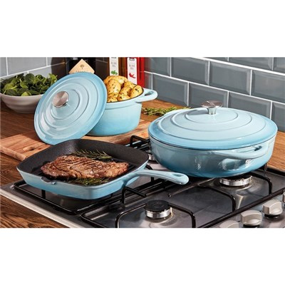 Cooks Professional G2681 Blue 3 Piece Cast Iron Cookware Set
