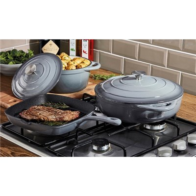 Cooks Professional G2679 Grey 3 Piece Cast Iron Cookware Set