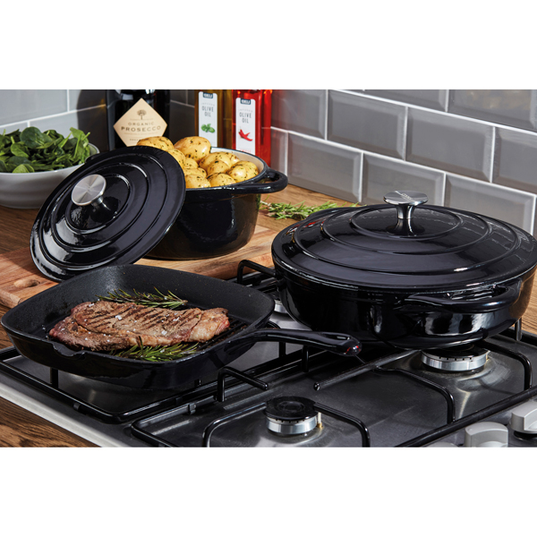 Cooks Professional G2681 Black 3 Piece Cast Iron Cookware Set No Colour