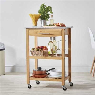 Cooks Professional G3602 Bamboo Kitchen Trolley with Granite Worktop