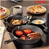 Cooks Professional Three Piece Set of Pre Seasoned Cast Iron Skillet Pans