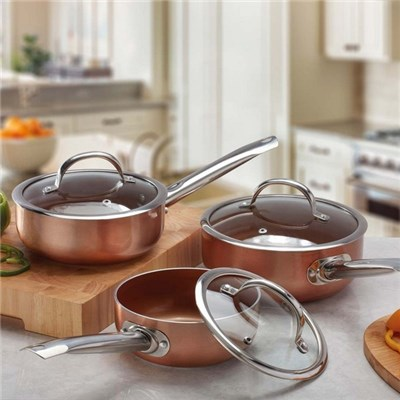 Cooks Professional G0088 3pc Copper Saucepan Set (Interior & Exterior)
