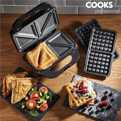 Cooks Professional G2841 Deep Fill Sandwich Maker with Waffle Plates